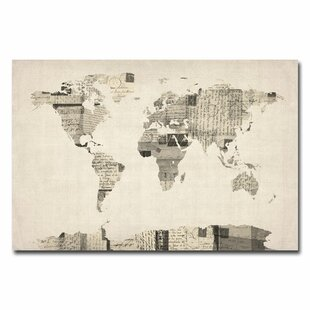 World map push pin wayfair vintage postcard world map graphic art on wrapped canvas by michael tompsett gumiabroncs Gallery