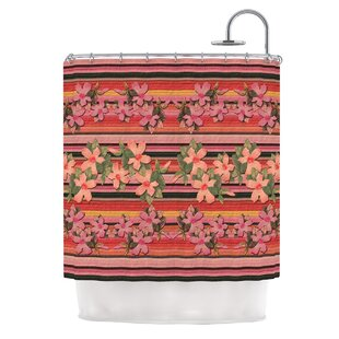 Peach Hibiscus Stripe By Nina May Shower Curtain