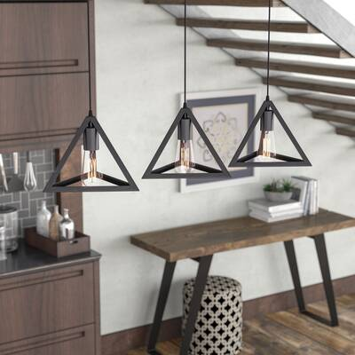 3 light kitchen island pendant industrial merriam 3light kitchen island pendant reviews allmodern