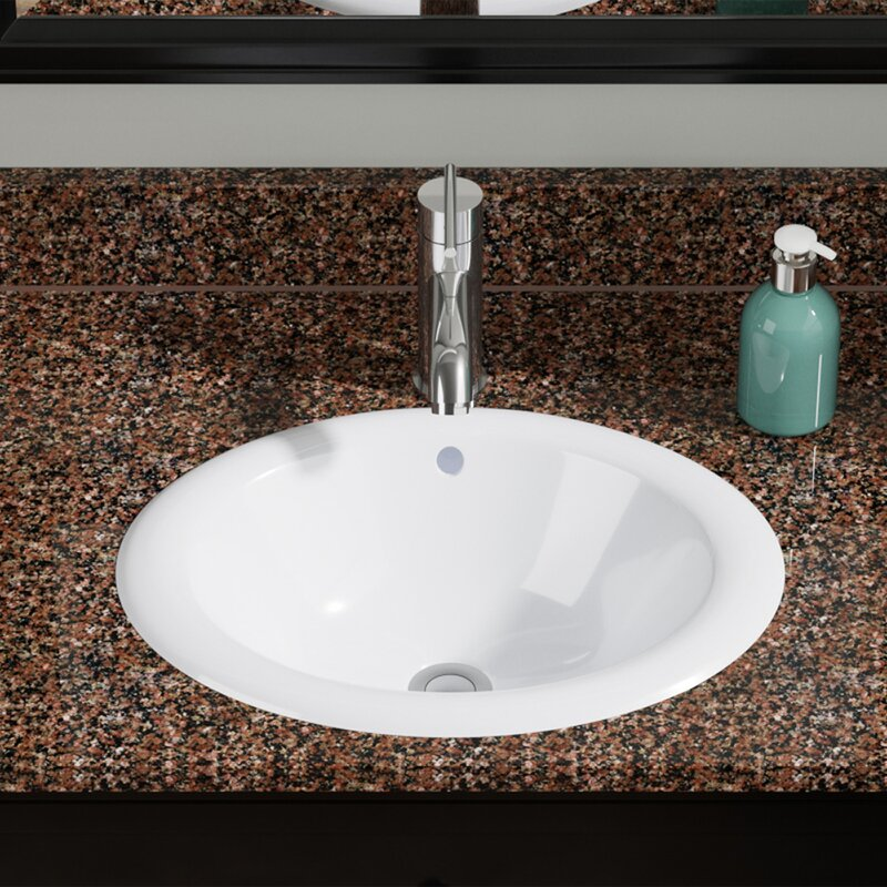 Vitreous China Oval Drop In Bathroom Sink With Overflow