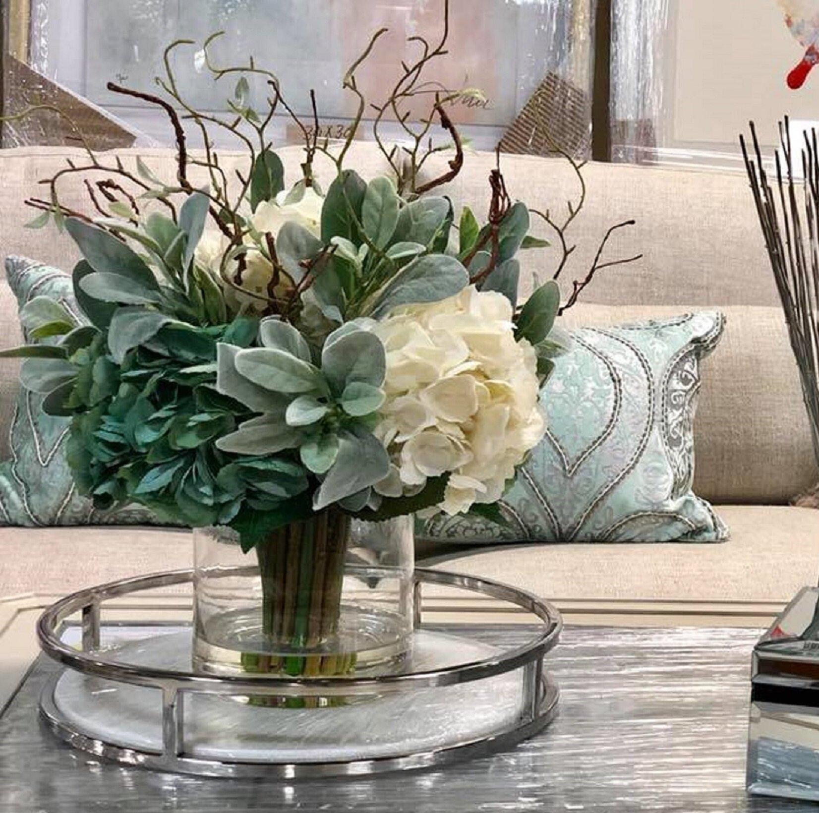 73cafe809448 August Grove Hydrangeas Floral Arrangement in Glass Vase   Reviews ...