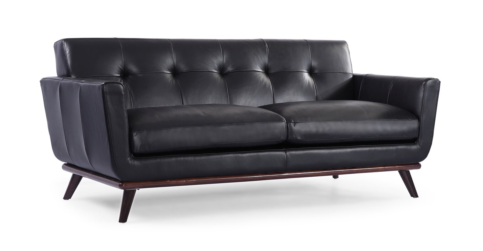 modern vintage couch. Luther Mid Century Modern Vintage Leather Sofa With Flared Arms Couch