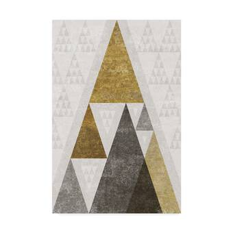 e2ef559ec9  Mod Triangles III Gold  Acrylic Painting Print on Wrapped Canvas.