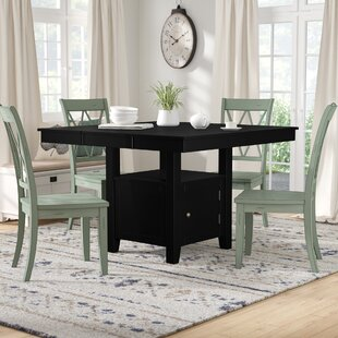 Dabrowski Counter Height Extendable Solid Wood Dining Table