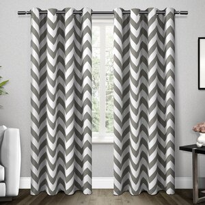 Cardenas Chevron Room Darkening Thermal Grommet Curtain Panels (Set of 2)