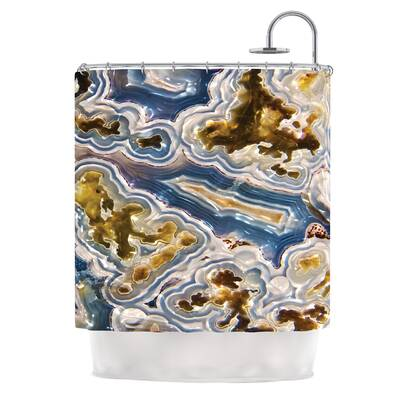 Gold And Blue Agate Nature Shower Curtain