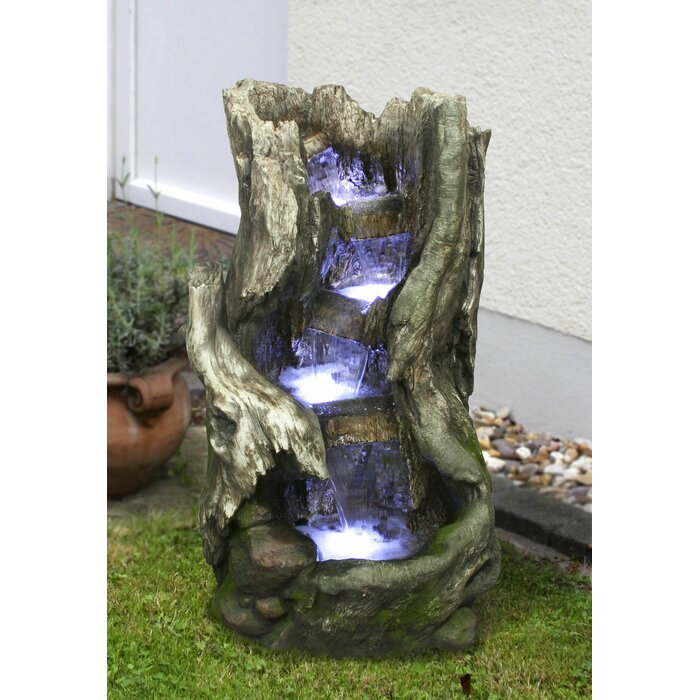 Resin Woodland Waterfall Outdoor Fountain With Light