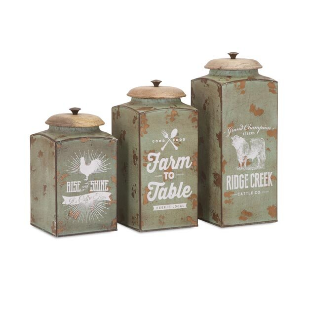 Farmhouse Kitchen Canister Sets: Woodland Imports Farmhouse 3 Piece Kitchen Canister Set