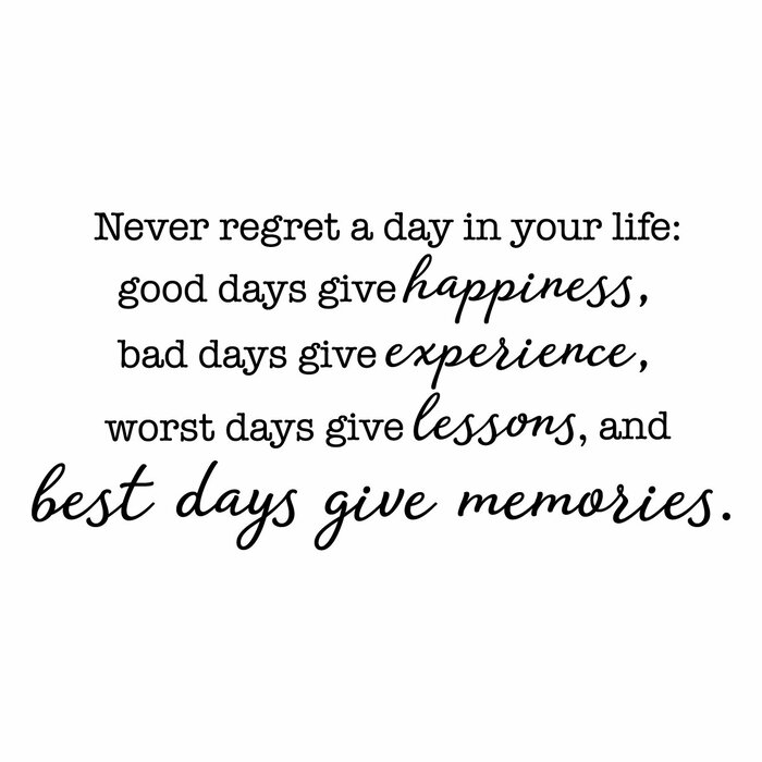 Never Regret a Day Wall Quotes™ Decal
