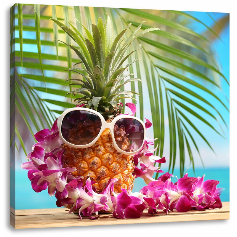 15f0bd643215 East Urban Home Pineapple Holiday Feeling with Sunglasses Art Print ...