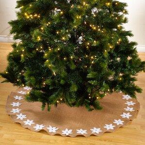 felicia poinsettia design round christmas stocking tree skirt - White Christmas Tree Skirt