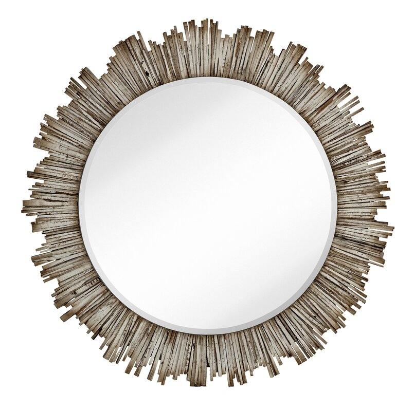 large round beveled accent mirror with white washed wood frame