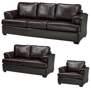 Royal Cranberry Leather 3 Piece Living Room Set