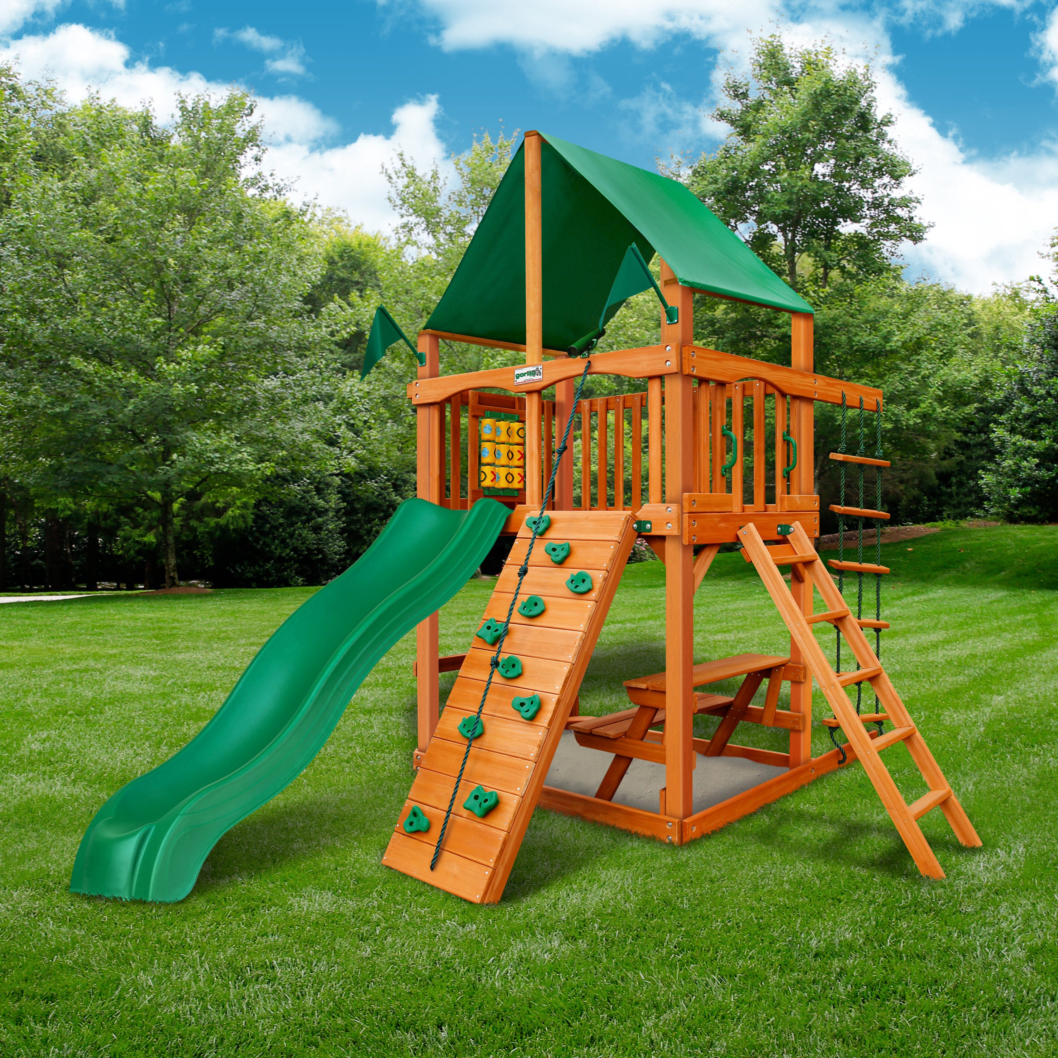 Gorilla Playsets Cau Tower Swing Set With Canopy Roof Reviews Wayfair
