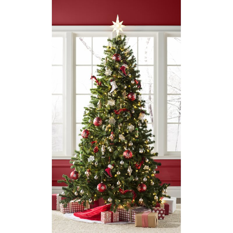 green spruce artificial christmas tree with clearwhite lights - How Many Lights For Christmas Tree