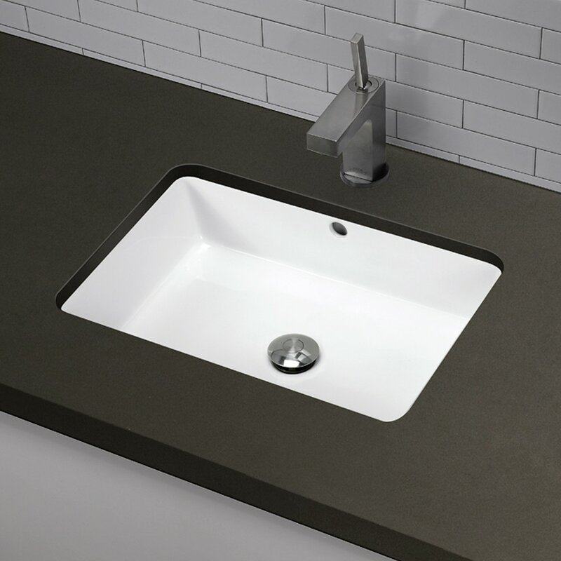 Great Lilli Classically Redefined Ceramic Rectangular Undermount Bathroom Sink  With Overflow