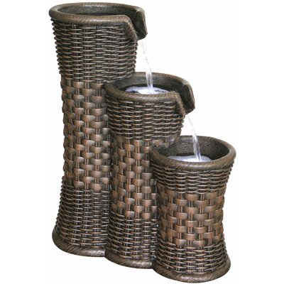 2 Piece Resin Everwoven Outdoor Fountain Set With Light