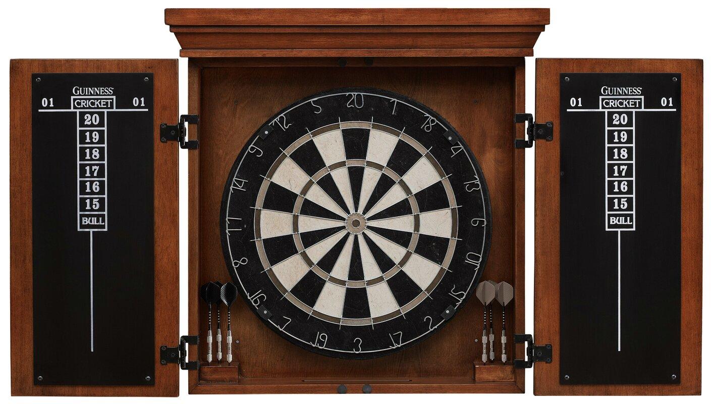 American Heritage Guinness Dartboard Cabinet Set & Reviews   Wayfair
