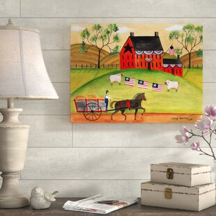 2f7b188c0cb  Primitive Americana Sheep  Acrylic Painting Print on Wrapped Canvas