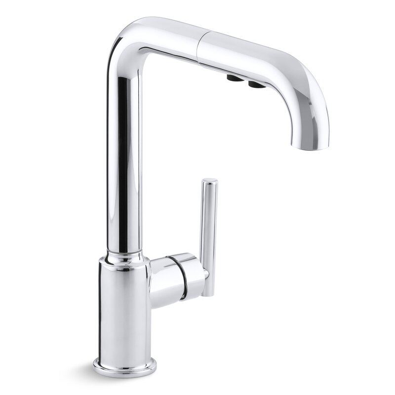 kohler purist single kitchen sink faucet with 8 pullout