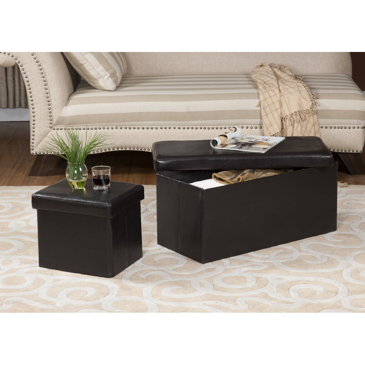 Upholstered Storage Bench Ottoman - InRoom Designs Upholstered Storage Bench Ottoman & Reviews Wayfair