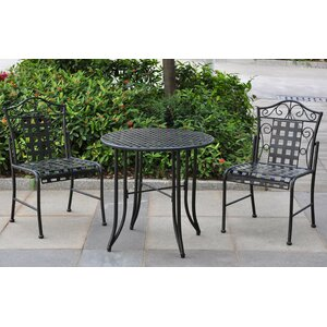 Abbottsmoor Iron Patio 3 Piece Bistro Set