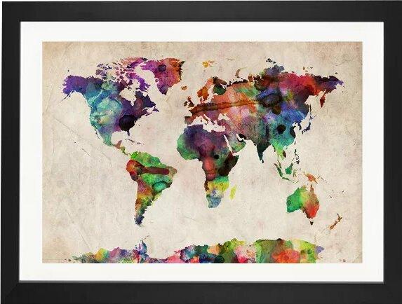 East Urban Home 'World Map Urba Watercolor II' by Michael Tompsett Graphic Art Print