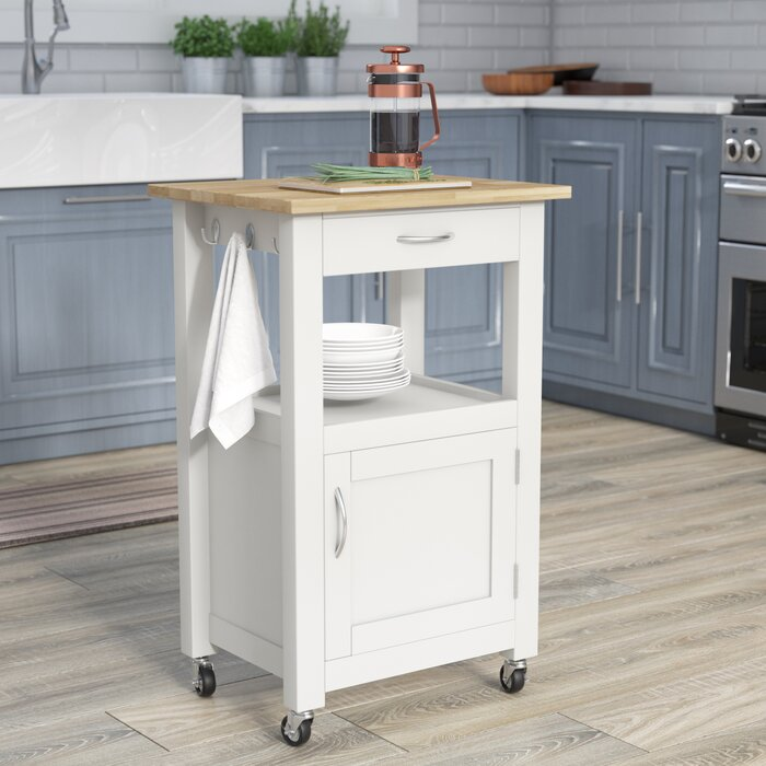 Turcios Kitchen Island Cart With Natural Wood Top