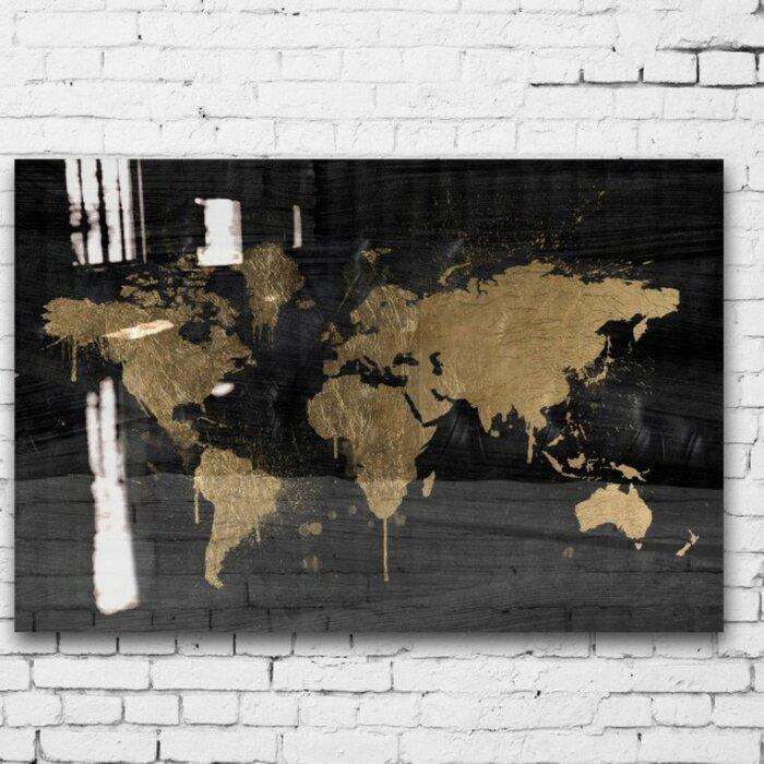 Mapamundi Gold High Gloss Graphic Art On Canvas
