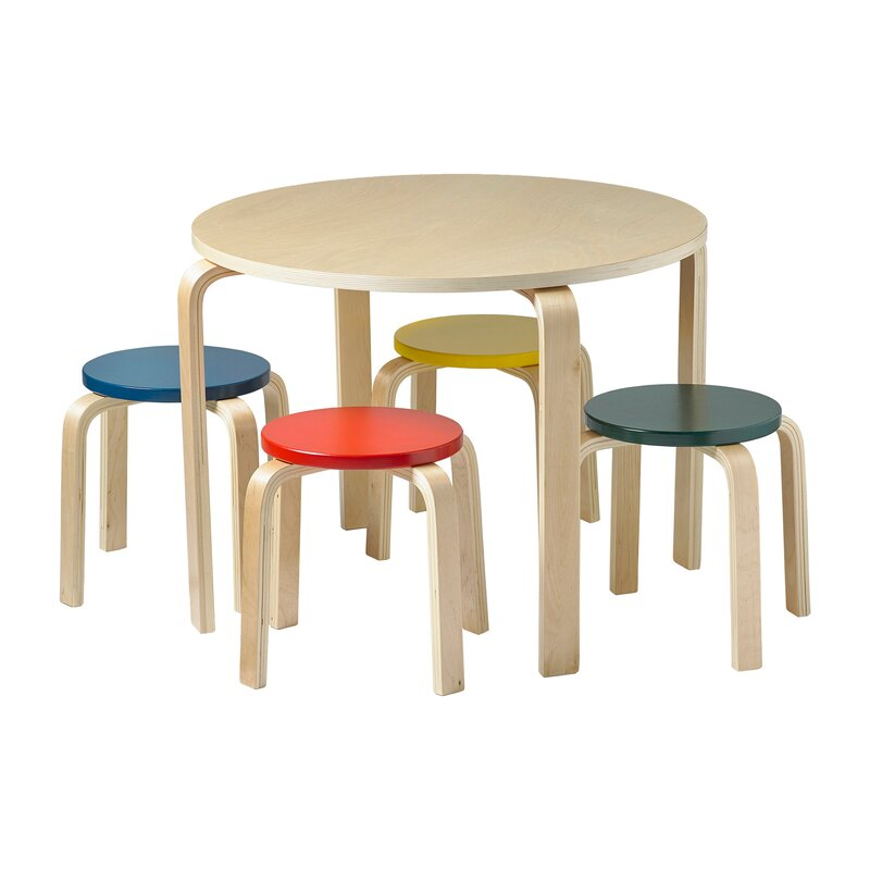 Bentwood Kidsu0027 5 Piece Round Table and Chair Set  sc 1 st  Wayfair & ECR4Kids Bentwood Kidsu0027 5 Piece Round Table and Chair Set u0026 Reviews ...