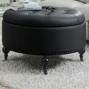 Mona Hidden Storage Leather Ottoman by..