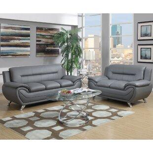 Grey Leather Furniture Set   Wayfair