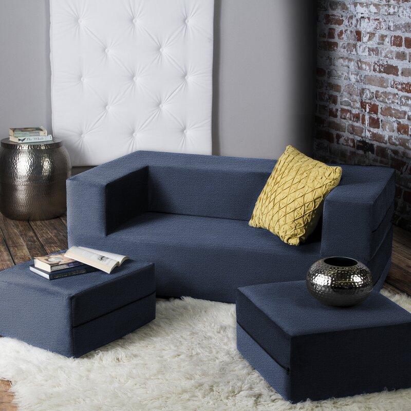 Zipcode Design Eugene Modular Loveseat Amp Ottoman Sleeper Amp Reviews Wayfair Ca