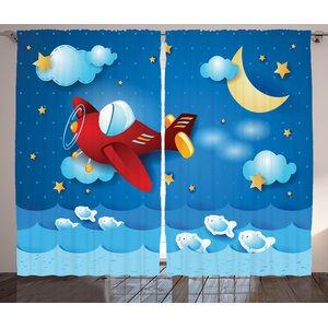 Parker Retro Airplane The Moon and the Stars Graphic Print & Text Semi-Sheer Rod Pocket Curtain Panels (Set of 2)
