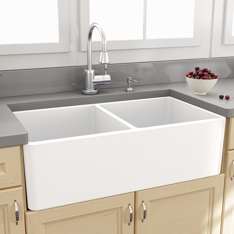 "Kitchen Sinks nantucket sinks cape 33"" x 18"" double bowl kitchen sink with grids"