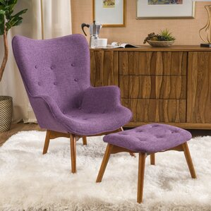 canyon vista midcentury wingback chair and ottoman