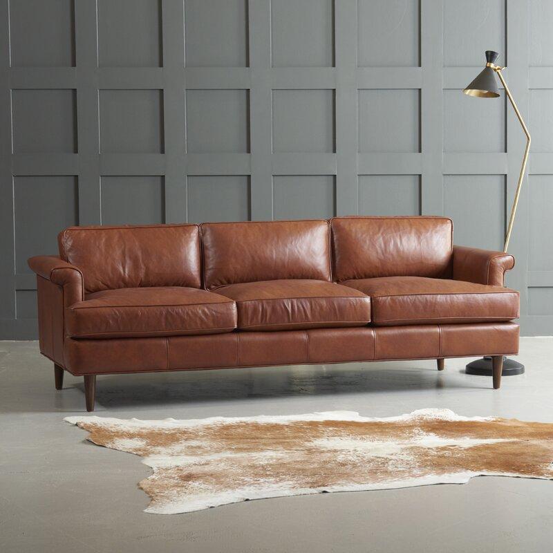 Wayfair Custom Upholstery Carson Leather Sofa Amp Reviews