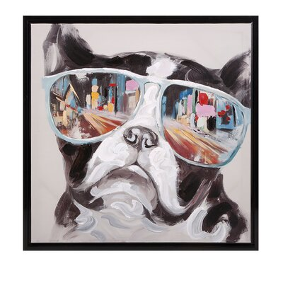 Wrought Studio 'City Shades Dog' Framed Graphic Art on Canvas
