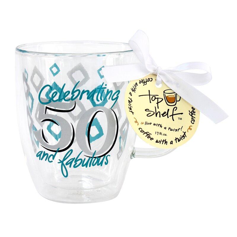 50th Birthday Decorative Double Wall Glass Coffee Mug