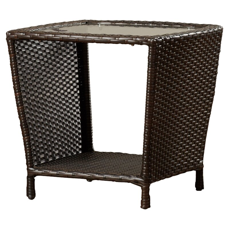 Mercury Row Caro Outdoor Wicker Side Table With Glass Top Reviews - All weather wicker side table