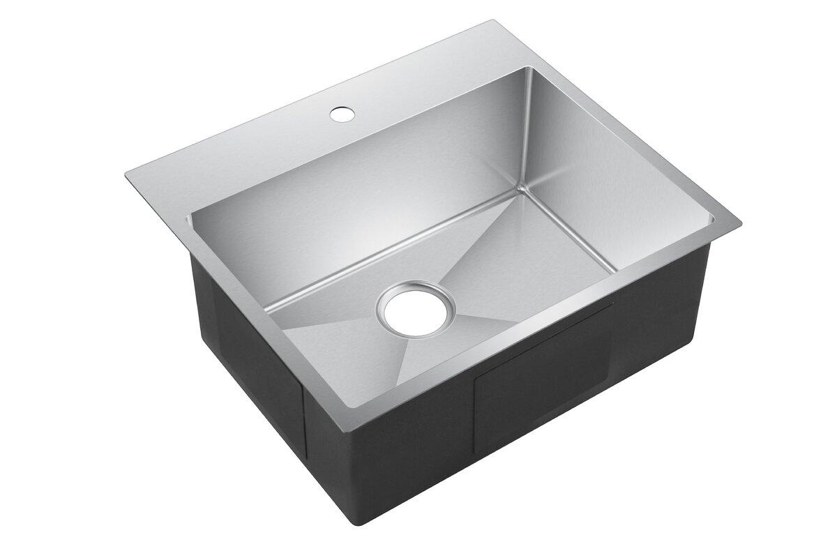 water creation 25   x 22   drop in kitchen sink with strainer dcor design water creation 25   x 22   drop in kitchen sink with      rh   wayfair com