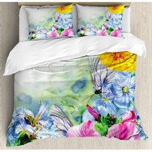 Watercolor Flower House Surreal Iris Peony Poppy Petals Paint With Moth  Butterflies Wild Duvet Set
