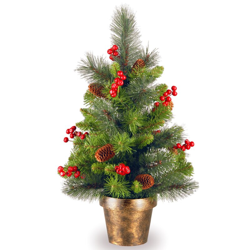 Gold Hill Spruce 2' Green Small Artificial Christmas Tree with Clear Lights