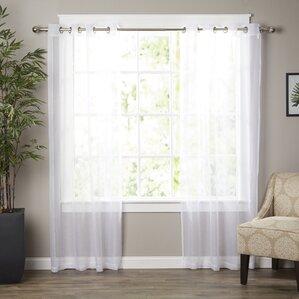 wayfair basics solid sheer grommet curtain panels set of 2