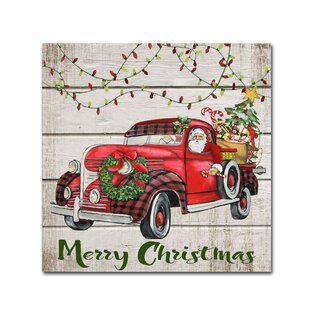 Vintage Christmas Truck 3 Graphic Art Print On Wrapped Canvas