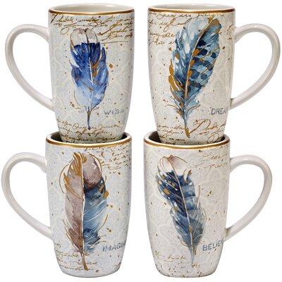 Certified International Indigold Feathers 16 Oz Mugs