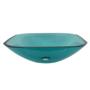 Templeton Glass Rectangular Vessel Bathroom Sink