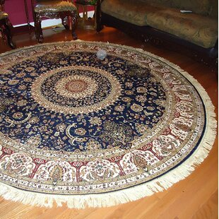 Shanelle Living Room Hand Knotted Silk Navy Area Rug