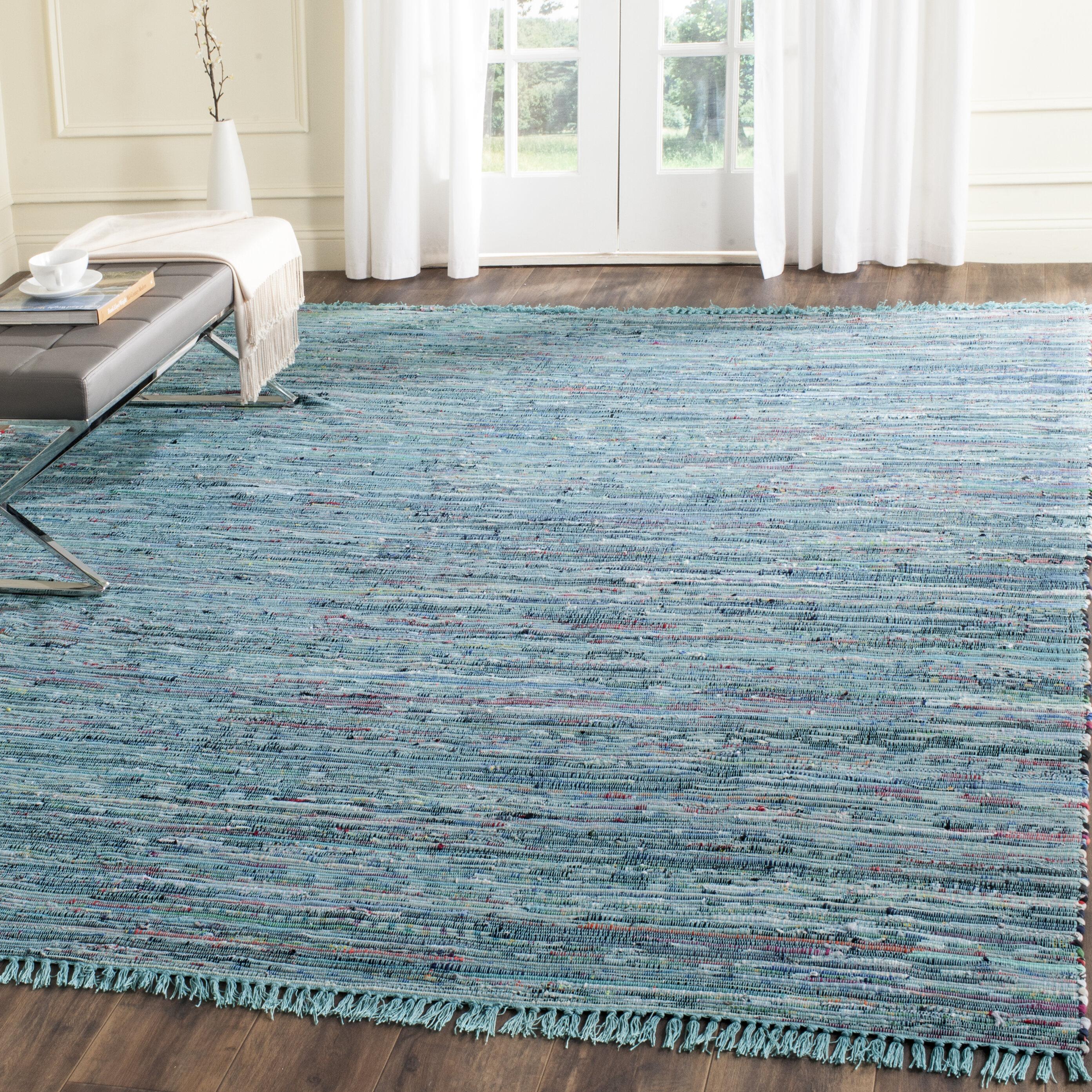 Beachcrest Home Inkom Handwoven Cotton Blue Area Rug & Reviews | Wayfair