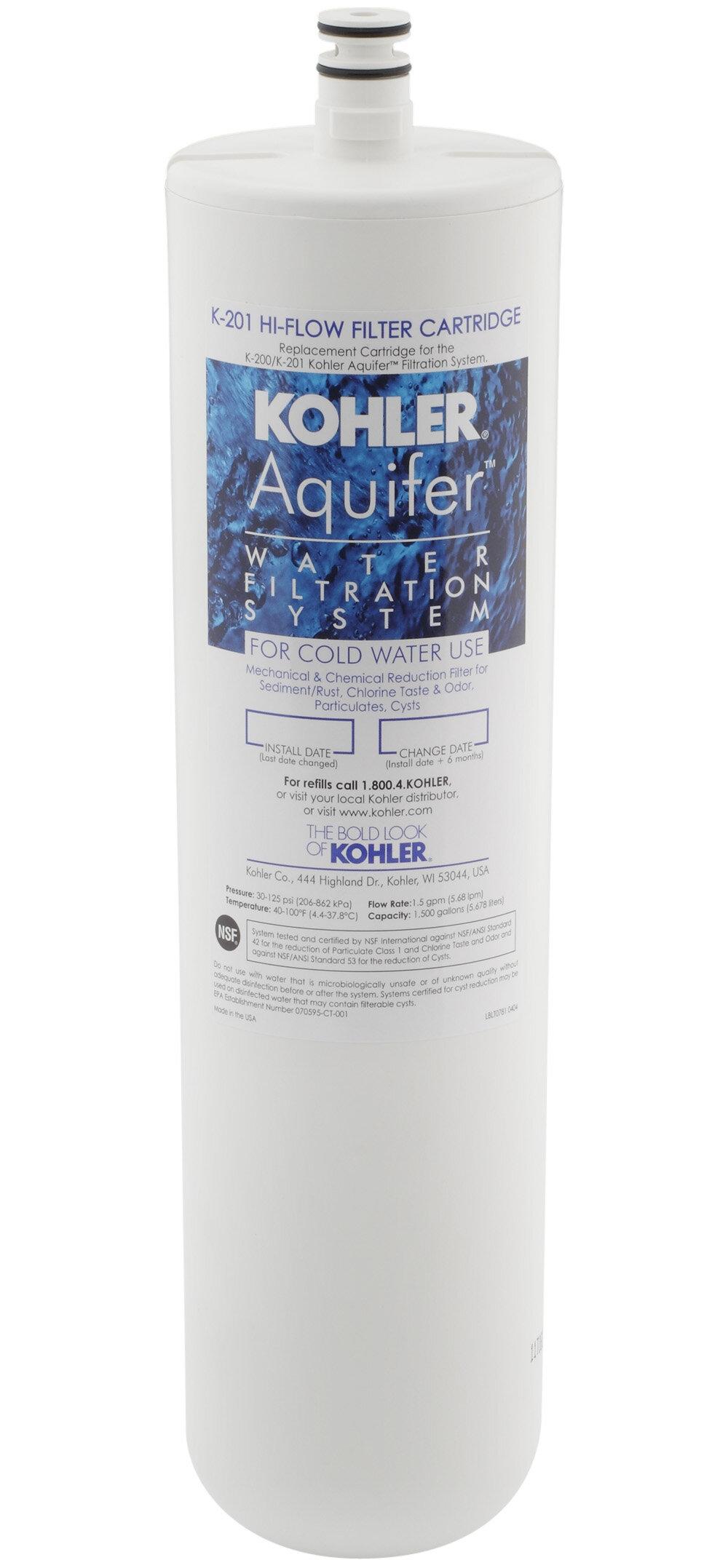 K-201-NA Kohler Aquifer High-Flow Refill Filter Cartridge & Reviews ...